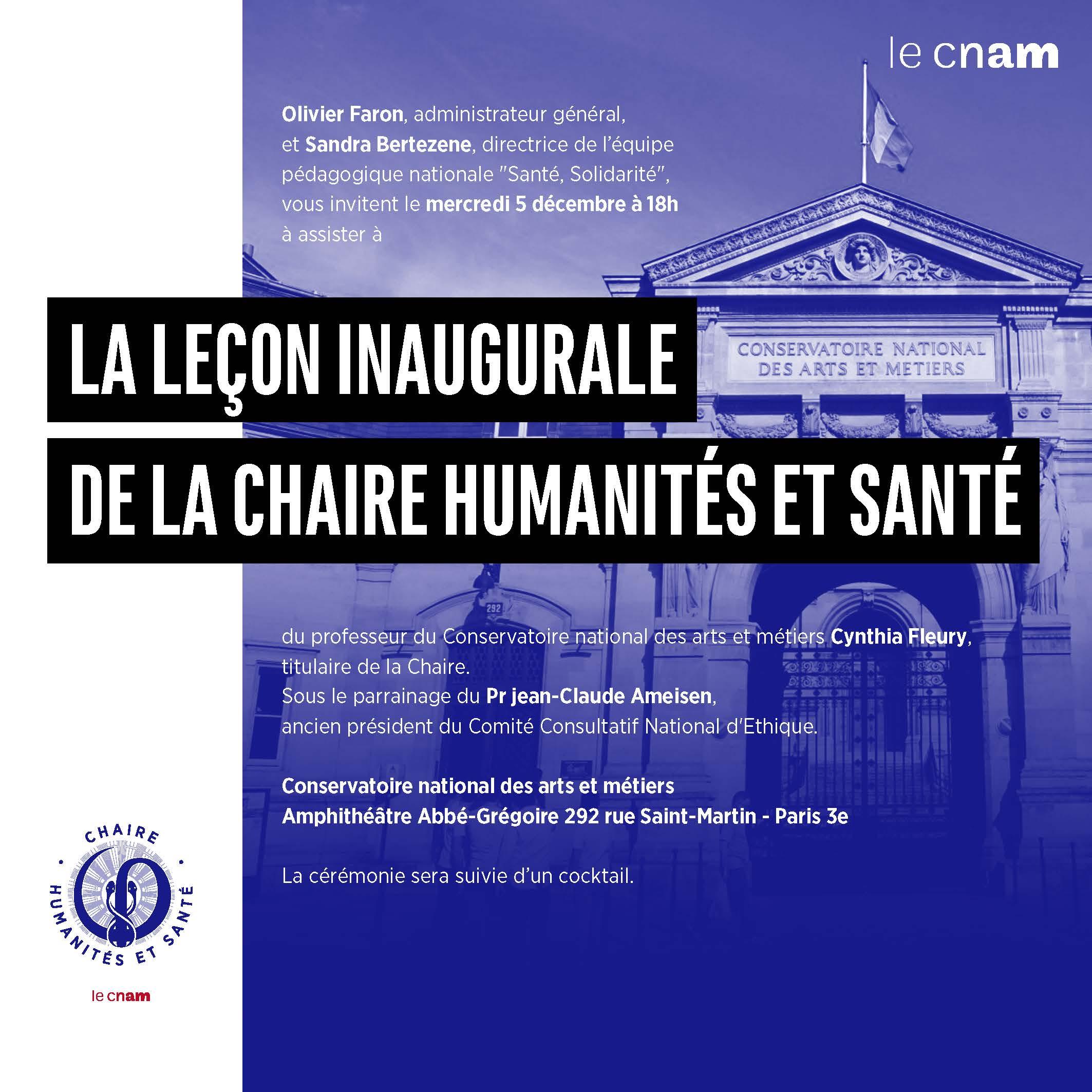 Leçon inaugurale de la chaire Humanités et santé