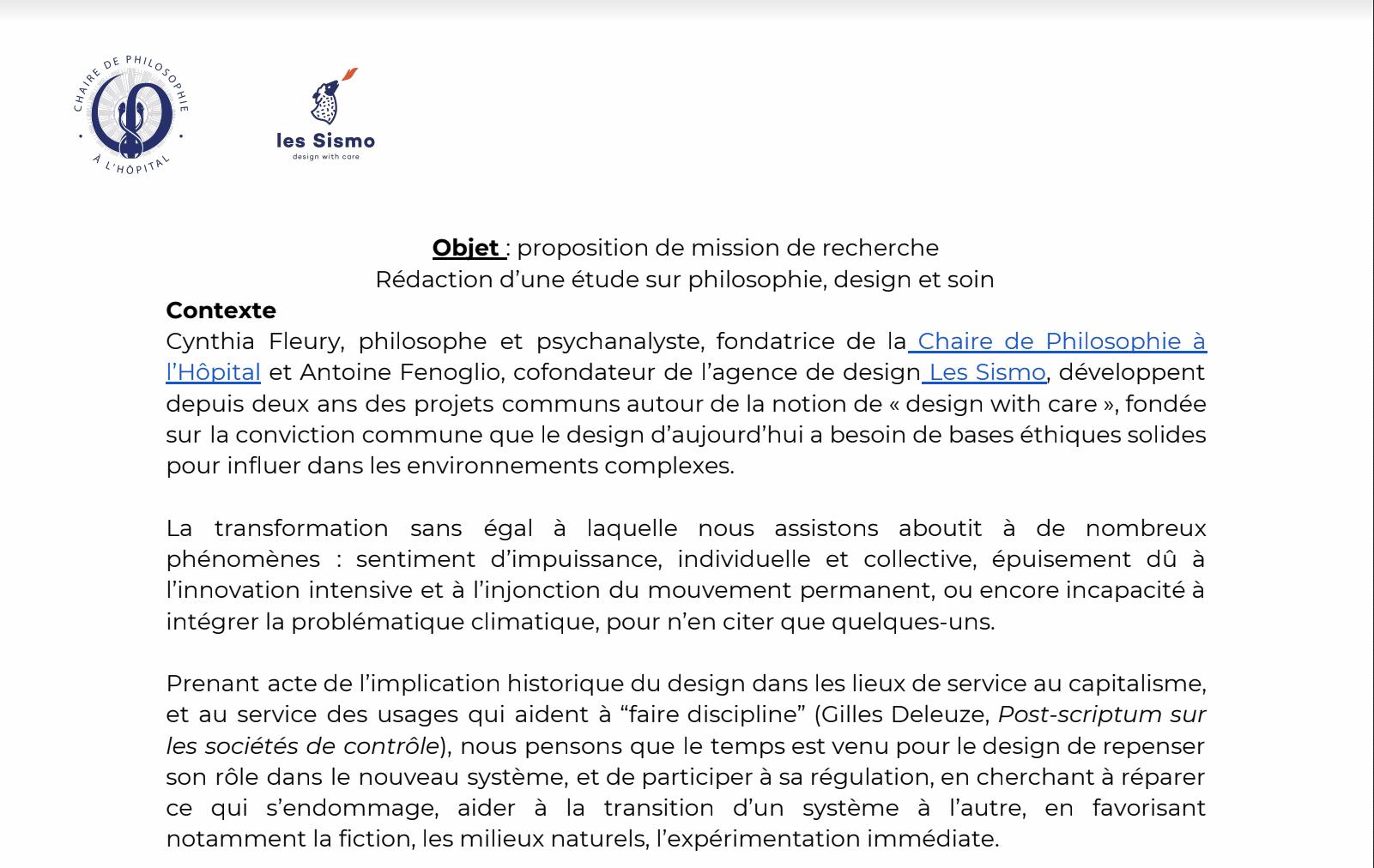"""Mission de recherche """"philosophie, design et soin"""""""