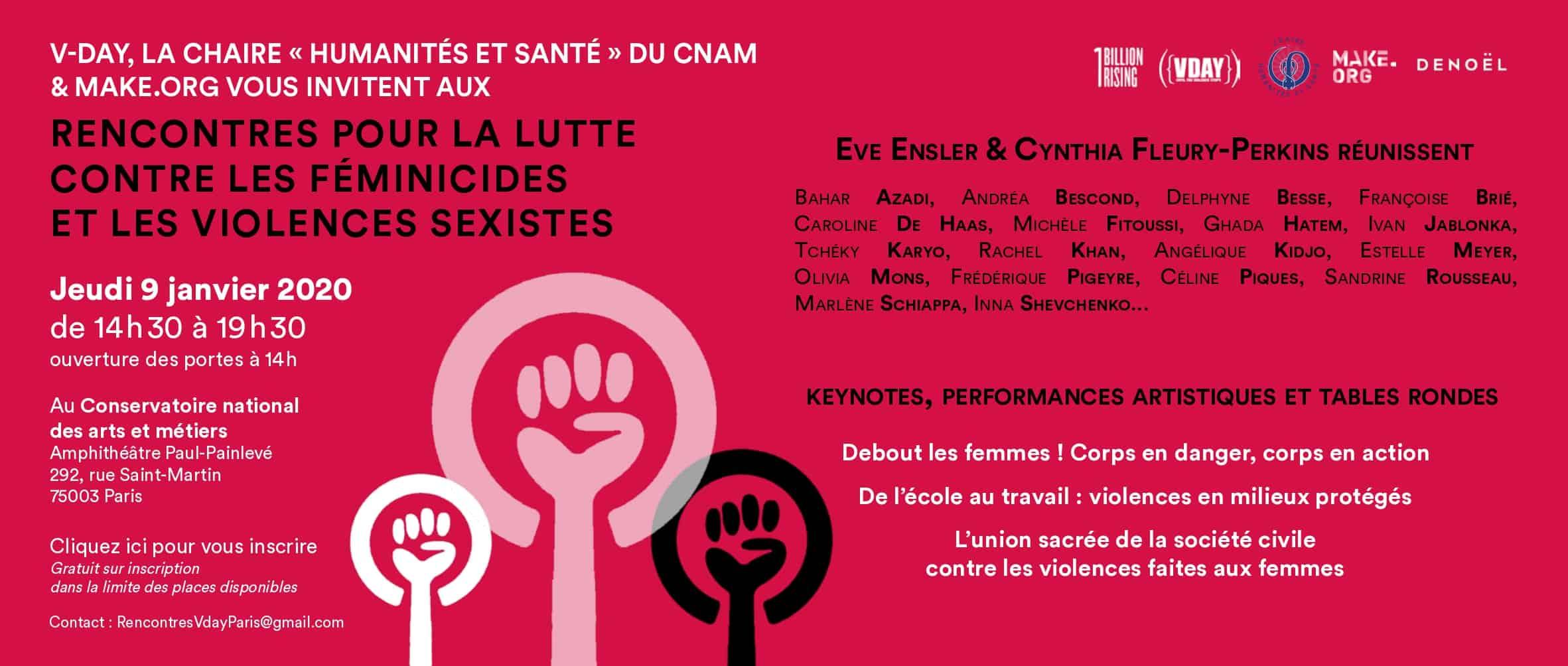 """Jeudi 9 janvier à 14h30 """"Rencontres pour la lutte contre les féminicides et les violences sexistes"""""""